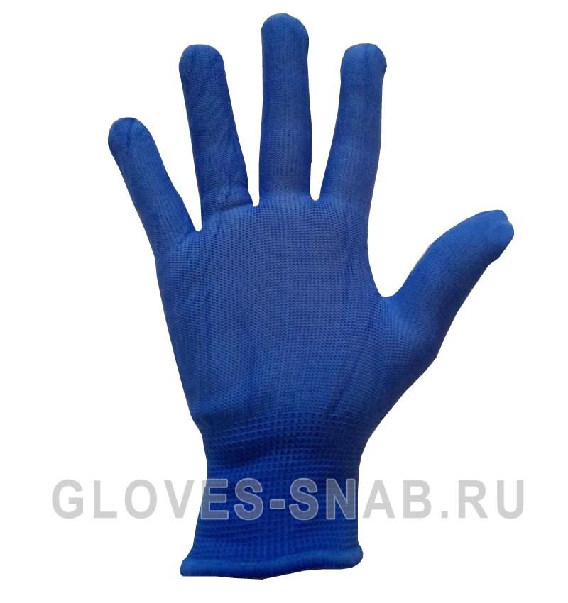 Перчатки нейлоновые, без пвх, цвет-синий.