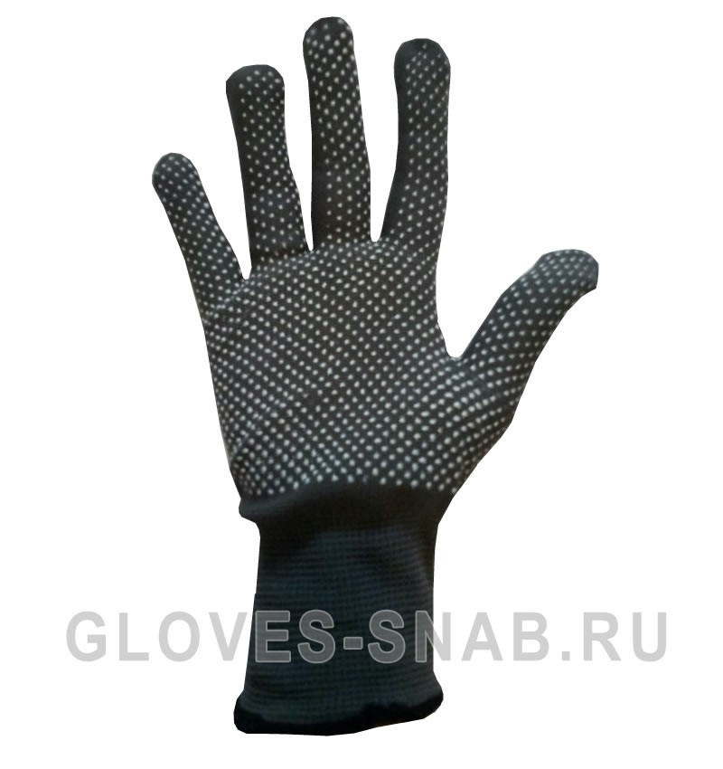 Нейлоновые перчатки, микроточка, цвет серый.