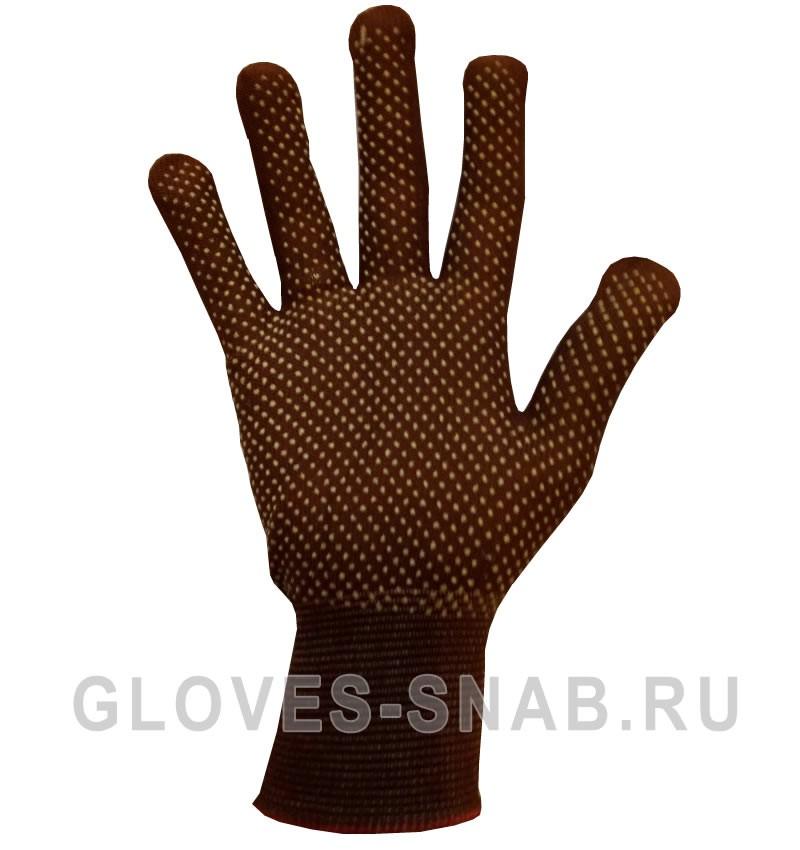 Нейлоновые перчатки, микроточка, цвет черный.