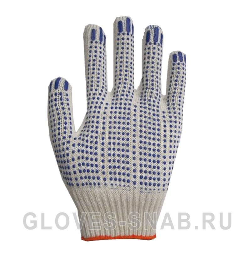 Перчатки Х/Б с ПВХ ТОЧКА 10 класс 5-ти нитка