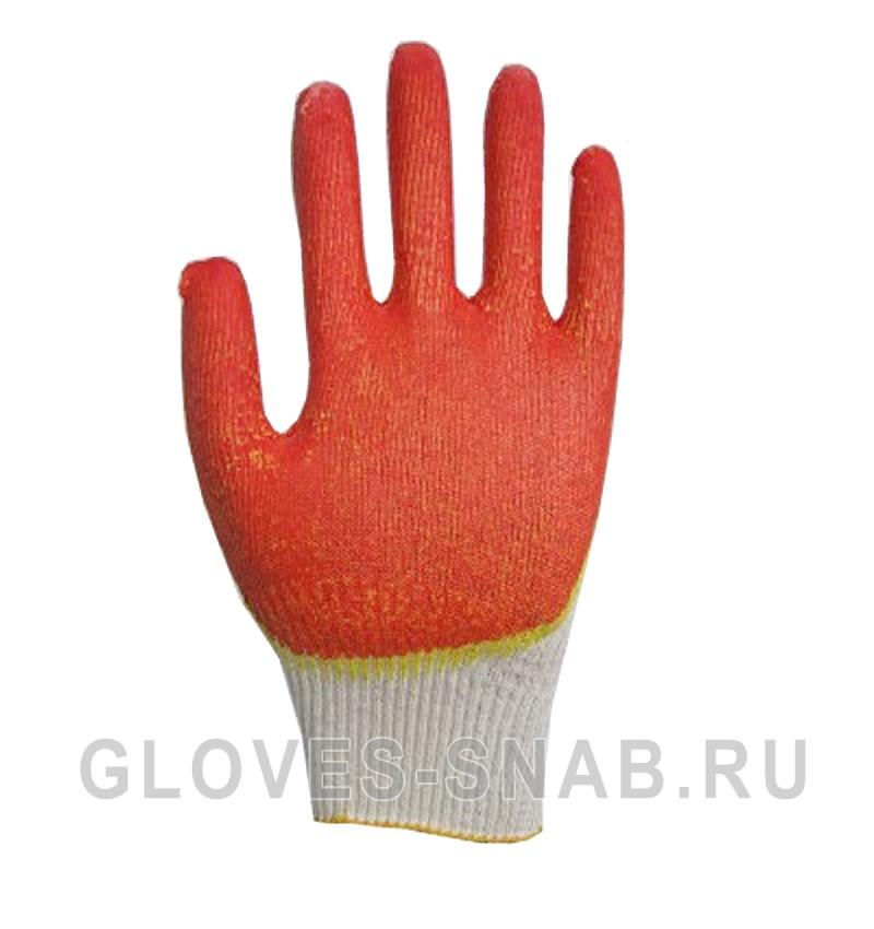 Перчатки Х/Б с Двойным латексным покрытием, красный-желтый, 13 класс