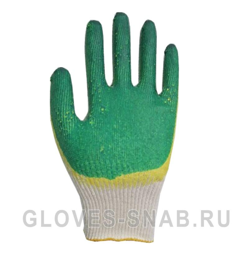 Перчатки Х/Б с Двойным латексным покрытием, зеленый-желтый, класс 13