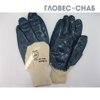 Перчатки Нитрил частичный облив манжет Резинка (подкладка х/б)